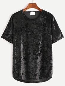 Black Dip Hem Velvet T-shirt