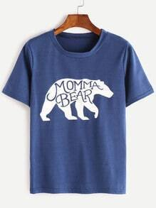 Blue Momma Bear Print T-shirt