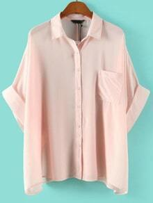 Pink Rolled Cuff Blouse With Pocket