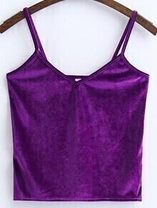 Top de terciopelo con tirantes finos - violeta
