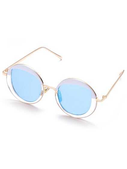 Gold Plated Round Frame Sunglasses With Blue Lens