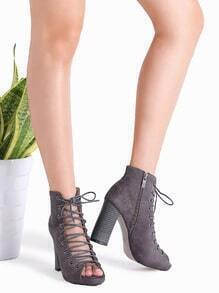 Grey Cutout Crisscross Side Zipper Sandals