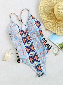 Bleu Imprimé Escabeau Découpe V-Cou One-Piece Swimwear