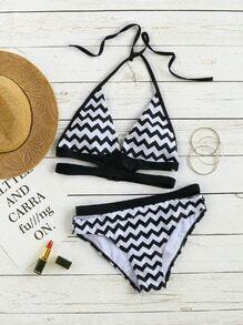 Sets de bikini halter con estampado de chevron - negro blanco