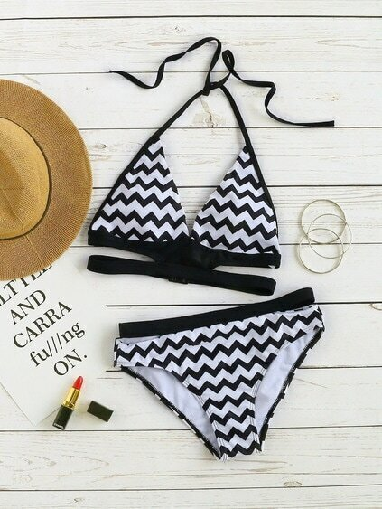 Black And White Chevron Print Halter Bikini Set