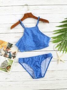 Ensemble de bikini à bretelles spaghetti bleu