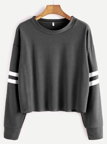 Deep Grey Drop Shoulder Varsity Striped Crop T-shirt