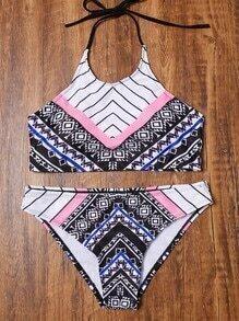 Sets de bikini halter con estampado - multicolor