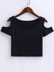 Black Open Shoulder Crop Top