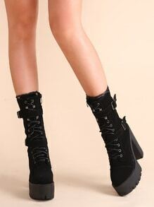 Black Buckle Lace Up Chunky Heeled Boots