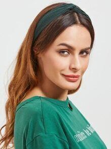 Bandeau à tricoter noeud vert foncé