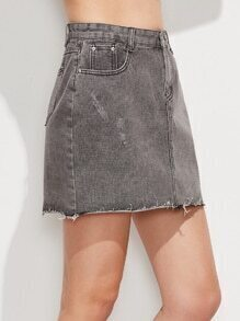 Grey Raw Hem Denim Skirt
