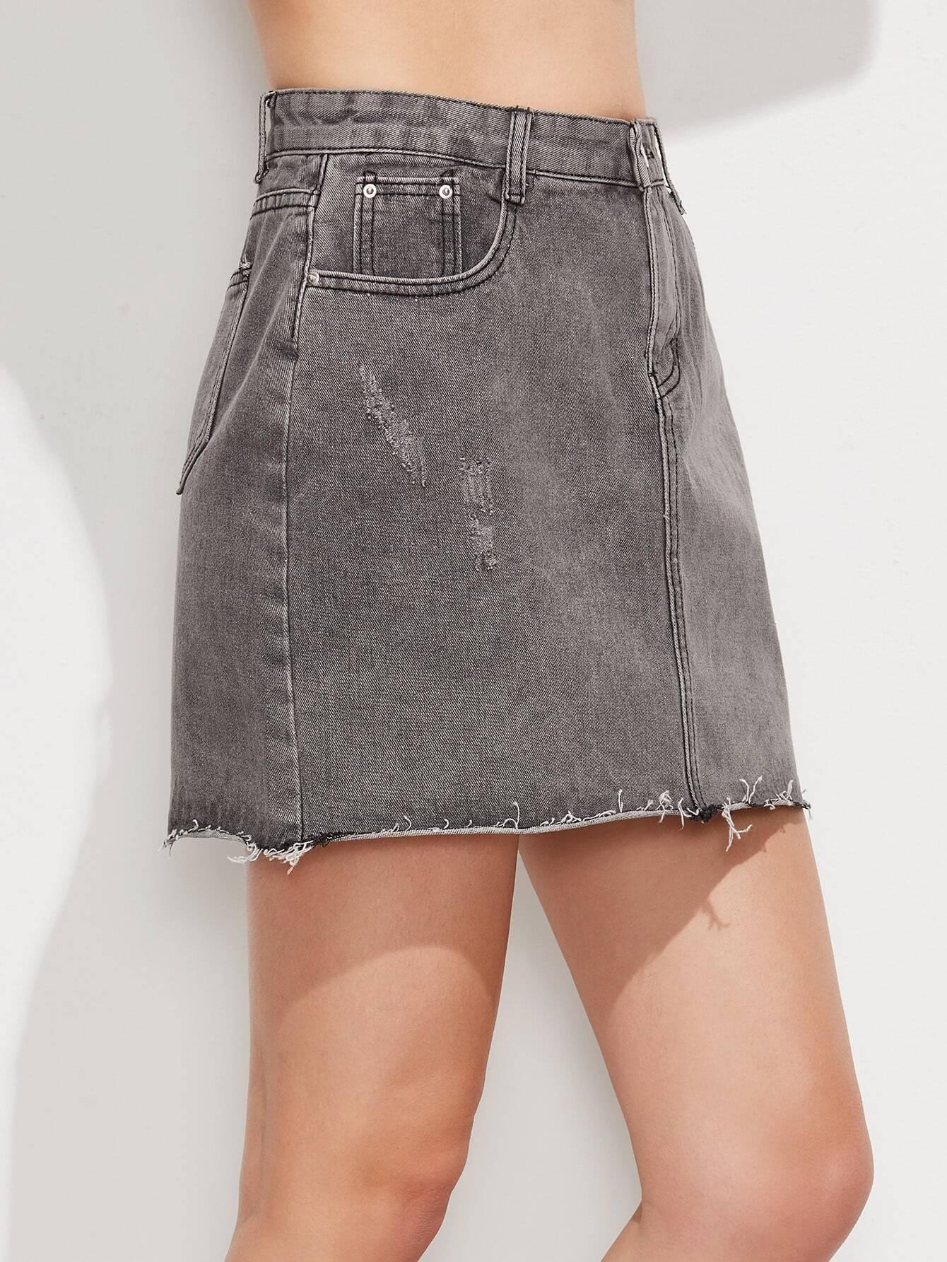 grey hem denim skirt