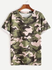 Camo Print Drop Shoulder Cuffed T-shirt