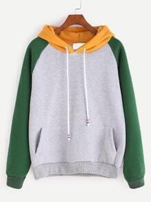 Color Block Hooded Raglan Sleeve Pocket Sweatshirt