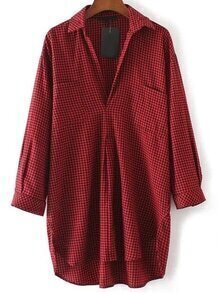 Red Plaid High Low Blouse With Pocket