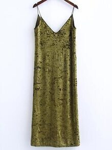 Olivgrünes Schlitz-Samt-Cami-Kleid