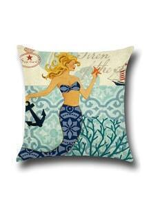 Vintage Mermaid Print Square Pillow Cover