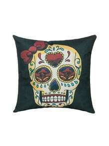 Gothic Black Skull And Rose Linen Pillow Cover