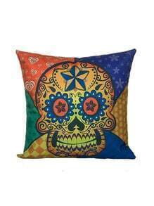 Color Block Skull Print Square Cushion Cover