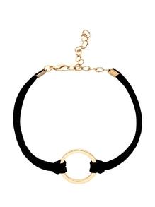 Pulsera de ante con adorno de anillo - negro
