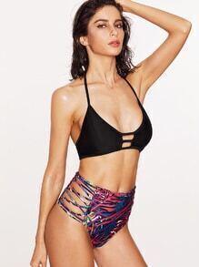 Printed Ladder Cutout Mix & Match Bikini Set