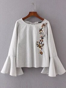 Pale Grey Flower Embroidery Tie Back Ruffle Cuff Blouse