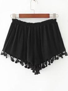 Black Elastic Waist Frange Trim Shorts