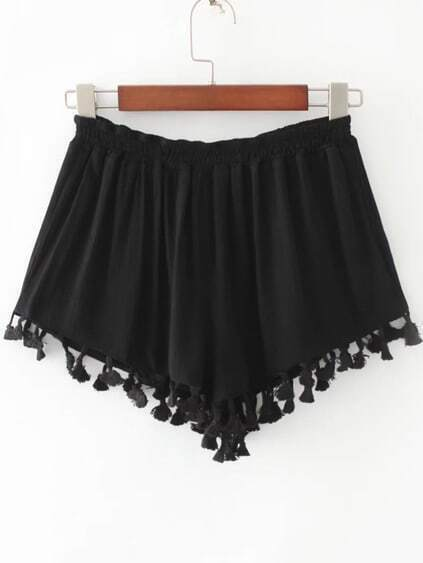 Black Elastic Waist Fringe Trim Shorts