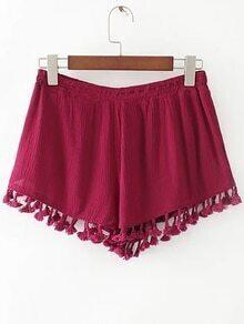 Red Elastic Waist Fringe Trim Shorts