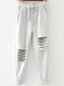 Pale Grey Drawstring Waist Distressed Pants