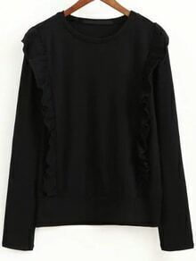 Black Ruffle Trim Round Neck Knitwear
