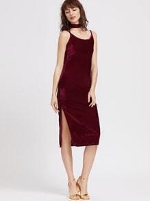 Burgundy Slit Hem Velvet Slip Dress