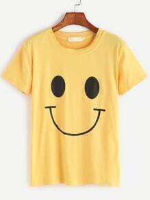 Yellow Smiley Face Print T-shirt