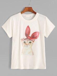 White Cat Print Short Sleeve T-shirt
