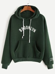 Armée verte Hooded Lettre d'impression Drop Shoulder Pocket Sweatshirt