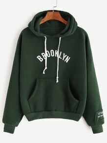Army Green Hooded Letter Print Drop Shoulder Pocket Sweatshirt