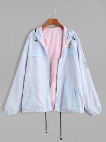Letter Print Hooded Drawstring Hem Two Way Wear Jacket