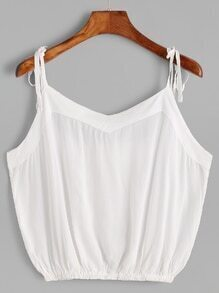 White Tie Detail Crop Cami Top
