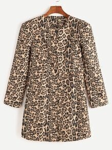 Yellow Leopard Print Single Breasted Coat