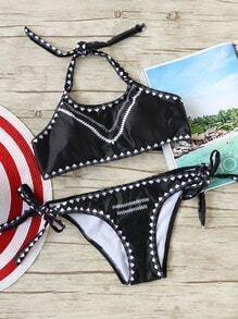 Sets de bikini con estampado con cordón lateral - negro
