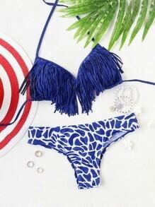 Blau gedruckter Halter-Troddel-Bikini-Satz