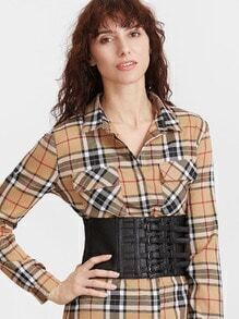 Black Buckles Front Corset Belt