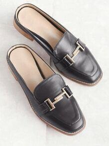 Black Faux Leather Metal Embellished Loafer Slippers