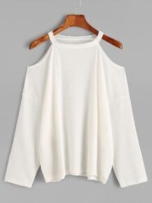 Beige Cold Shoulder Loose Knit T-shirt