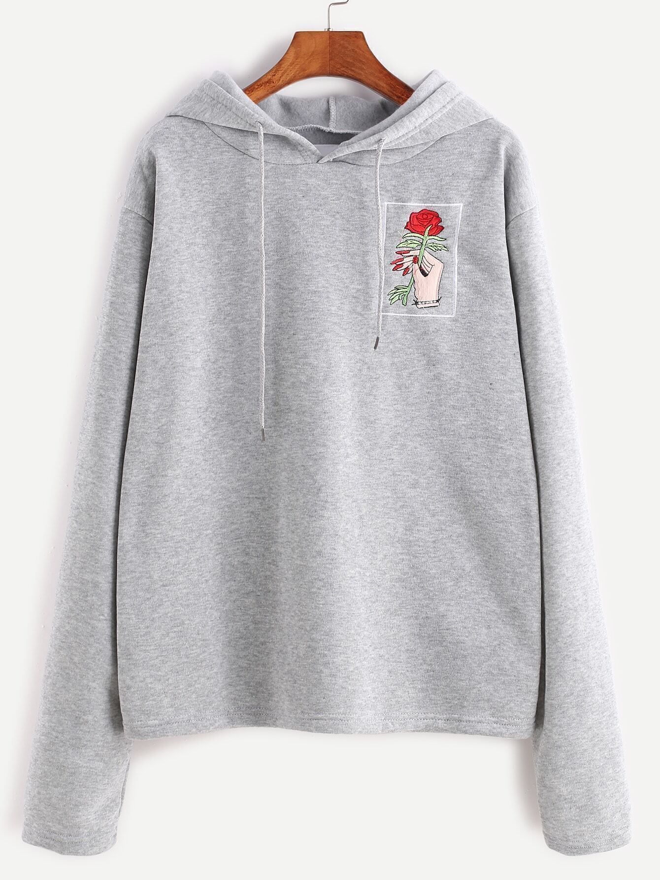 Heather Grey Hooded Embroidered Sweatshirt