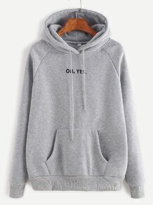 Heather Grey Letter Print Hooded Raglan Sleeve Sweatshirt