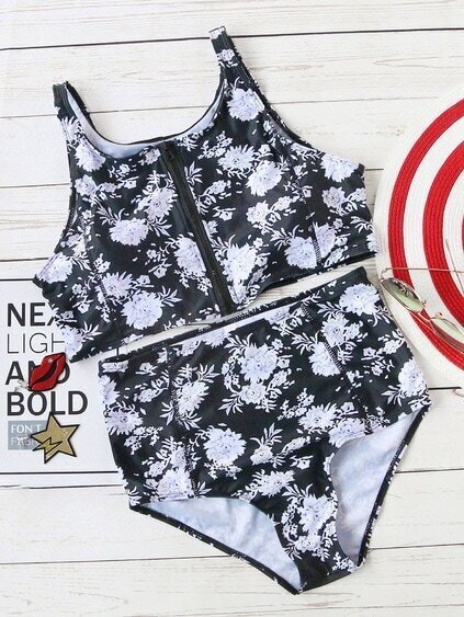 Black And White Floral Print High Waist Zipper Bikini Set