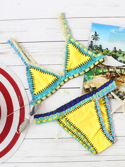 Yellow Crochet Trim Triangle Bikini Set