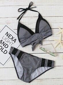 Black Striped Halter Bikini Set With Bow Tie